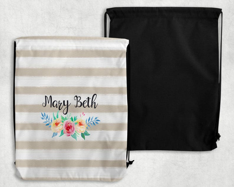 Monogrammed Gym Bag Gifts for Her and Him Personalized Bag Gifts For the Kids Floral and Sporty Designs! Personalized Drawstring Bag