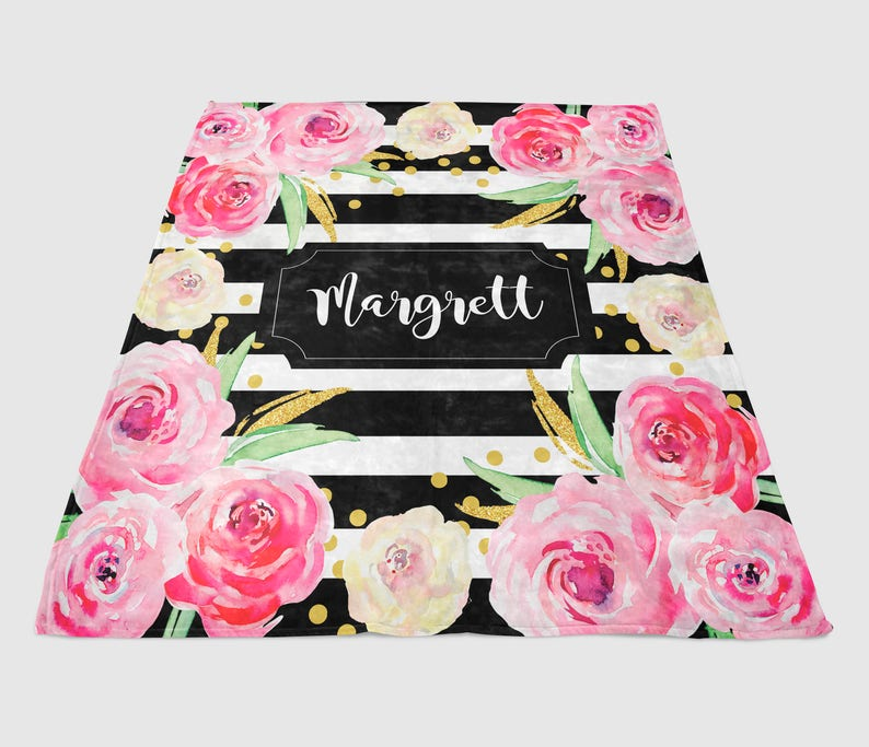 Personalized Super Plush Blanket Black Stripe Watercolor Flowers Summer Home Decor Monogrammed Gifts For Her Vibrant Summer Throw Custom