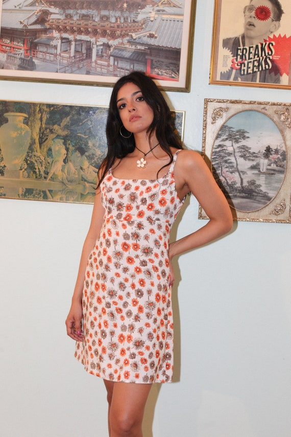 90s Orange Daisy Dress