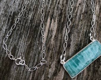 Sterling Silver Necklace // Amazonite bar pendant