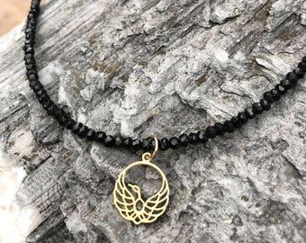 Necklace // Black Spinel, Gold