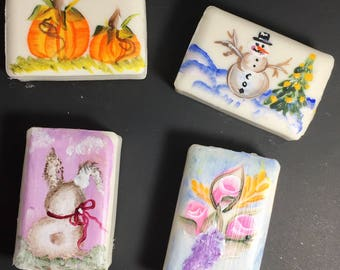 Hand painted soap,Soap,Set of four, One for each season,Secret Sister gift,Hostess gift,Stocking stuffer,Teachers gift,Shower gift