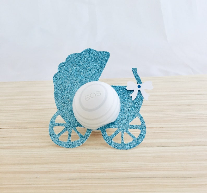 12 EOS baby shower lip balm holders baby carriage,EOS party favor,Lip balm party favor,Baby carriage,EOS lip balm holder,light blue glitter