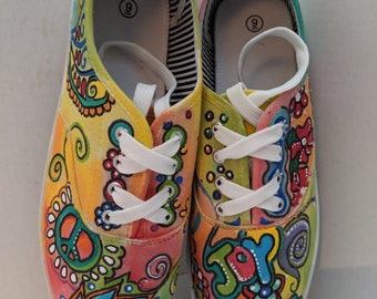 62e4100733a4c Hippie painted shoes | Etsy