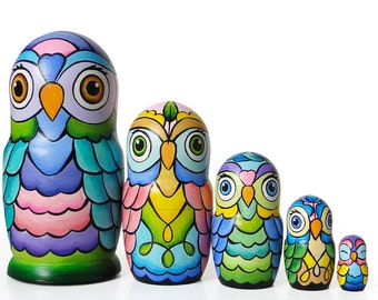 "NEW OWLS, hippie style, Nesting Dolls, 6,1"", 5 pcs"