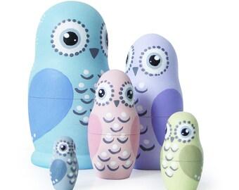 "Pastel Owls, Matryoshka Dolls, Set 5 pcs, 4,3"""