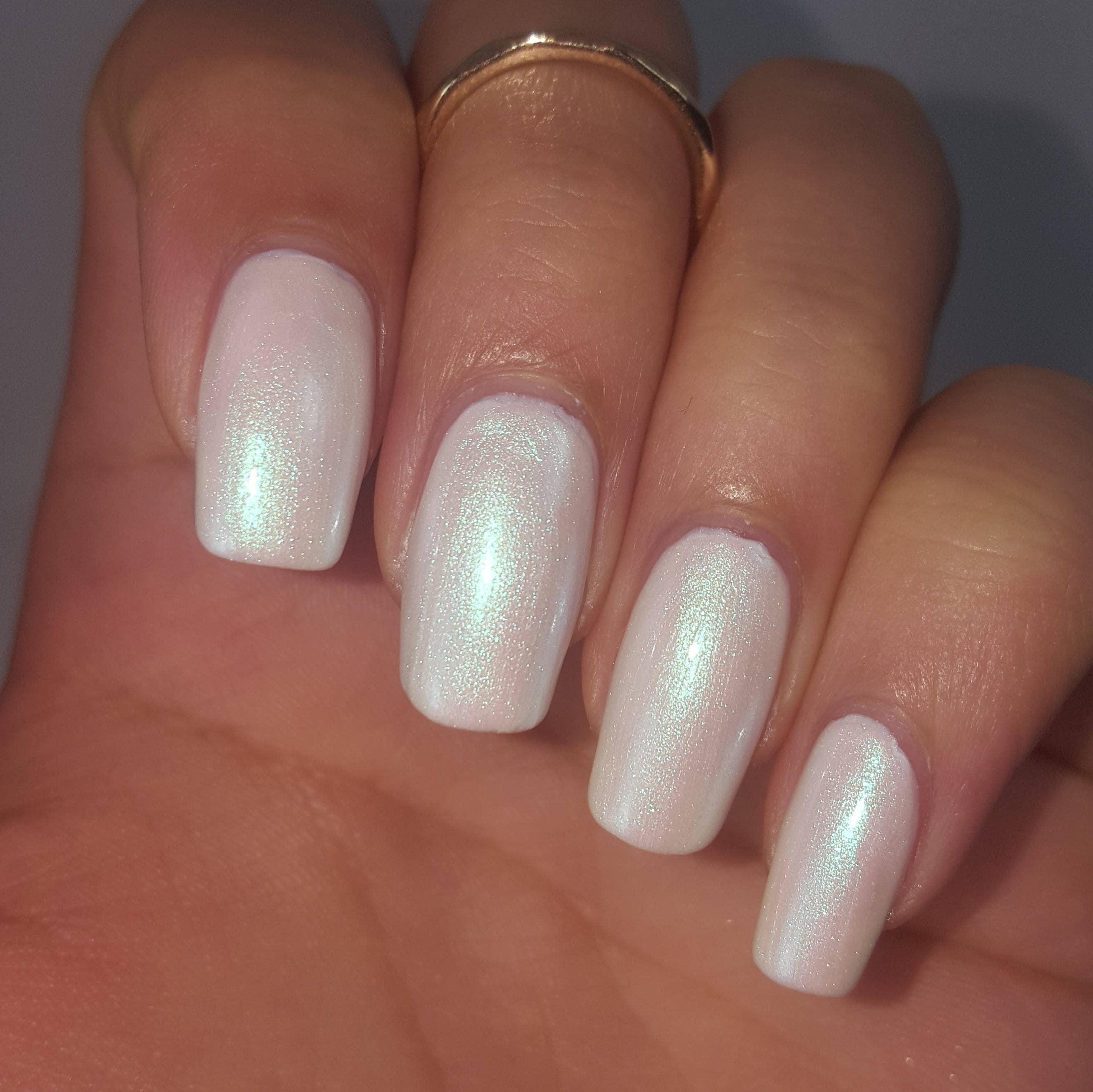 White PEARL IRIDESCENT Nail Polish DUO 5 Free Handmade Indie | Etsy
