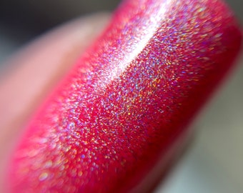 Strong Linear Holographic and Neon Pink Nail Polish Duo 5-Free Handmade Indie Nail Polish Cruelty Free Cute Gifts for her Palm-Free