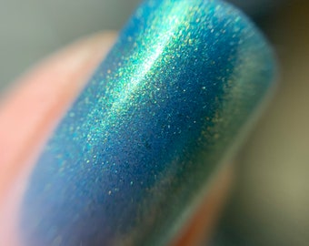 Blue Nail Polish with Iridescent Gold 5-Free Handmade Indie Nail Polish Cruelty-Free Gifts for her Gifts Palm-Free