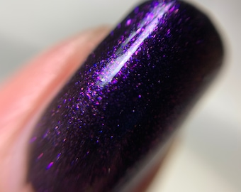 Purple Iridescent Top Coat 5-Free Handmade Indie Nail Polish Animal Cruelty-Free Gifts for her Palm-Free