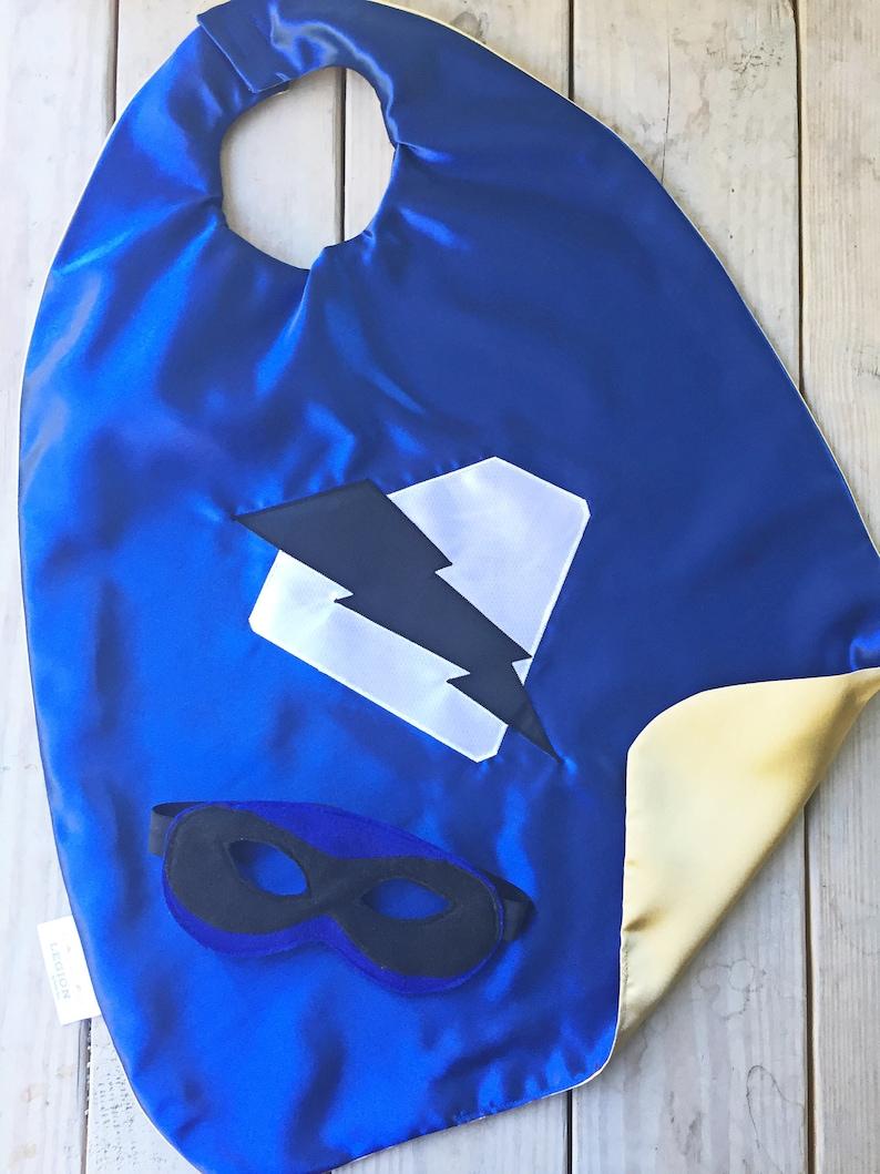 Children/'s Dress-Uppersonalized Superhero Cape /& Mask Gift idea ChristmasHanukkahBirthdaysHolidays Regal Blue and gold Lightning Bo