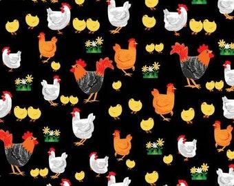 100/% Cotton Poplin Fabric Rose /& Hubble Spotted Hens Chicken Farm Animals
