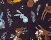Wild Free charcoal with baby animals by Abi Hall for Moda fun forest native american prints for kids, bear fox deer squirrel 35311 12