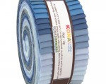 Kona Cotton Solids Roll-Up.  Overcast Palette Series 40 2 1/2 x width of fabric strips. various blues and grays RU-425-40 Jelly roll