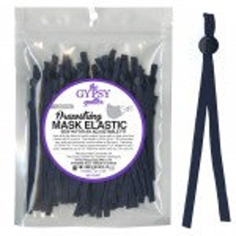 easy length adjustment Drawstring Mask Elastic Navy 8in 60ct TGQ092