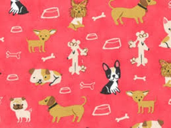 100/% Cotton Fabric R.E.D International Textiles Good Boy Dogs Woof Hearts