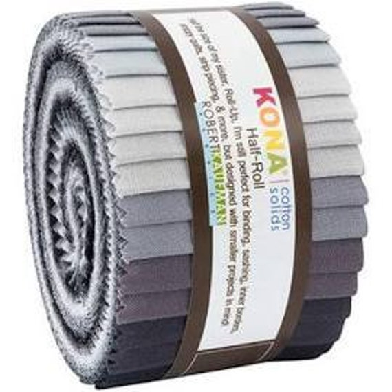20 Strips Kona Cotton Charcoal 2.5-inch Pre Cut Quilting Strips Jelly Roll Fabric