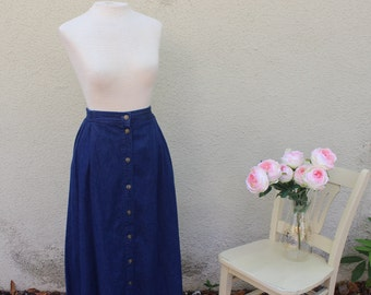 90s High Waisted Dark Wash Denim Skirt with Brass Buttons | Midi-Maxi | Button Up | Grunge | M/L