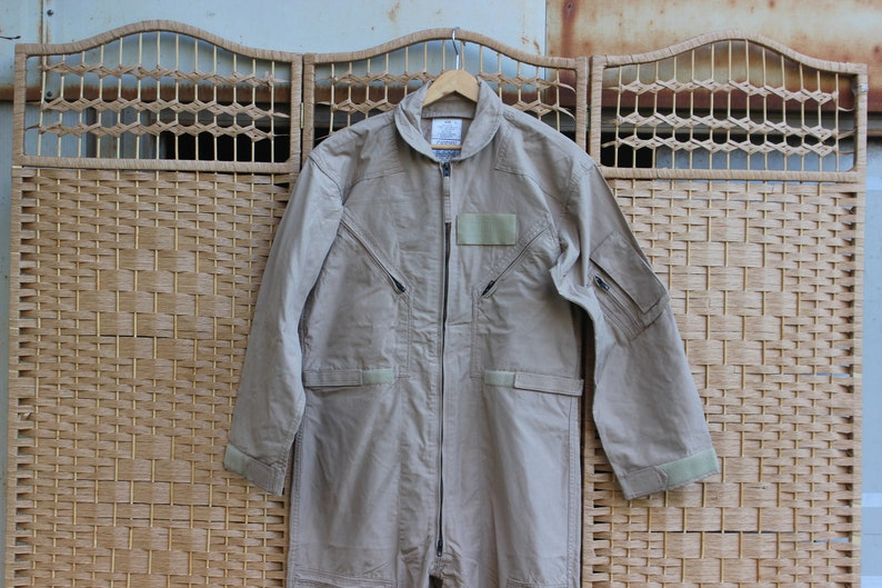 852e327988b Vintage 90s Tan US Military Flight Suit Coveralls Air Force