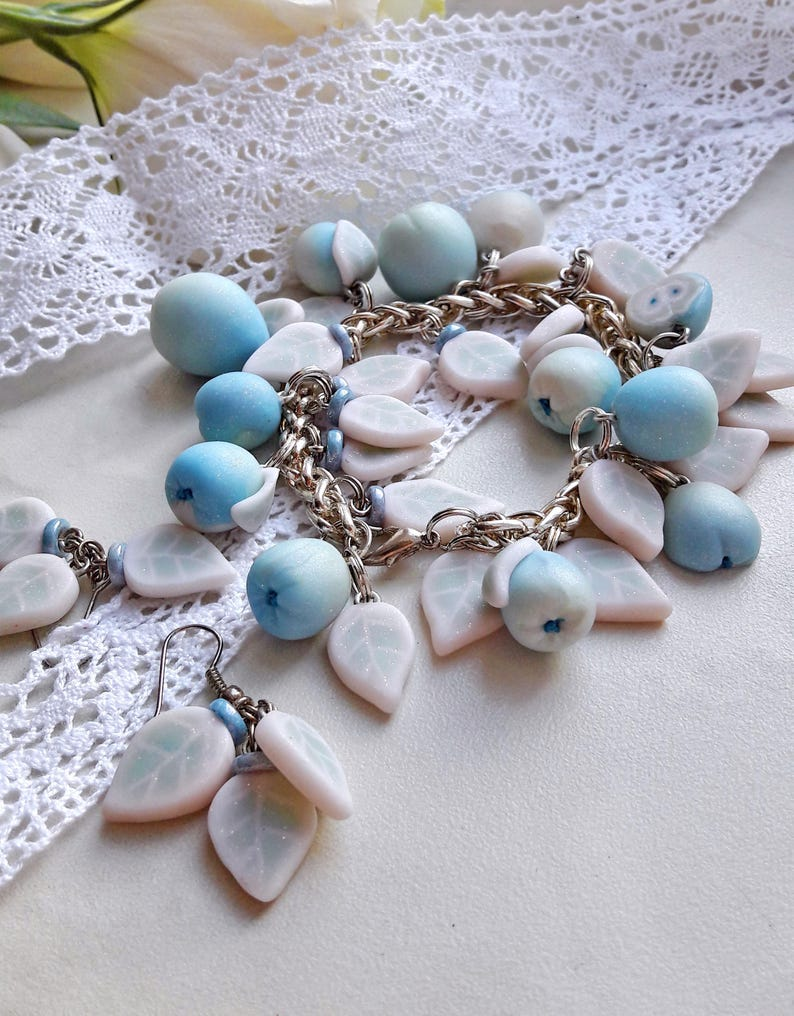 Small gift ideas for women Apple Bracelet for women Miniature food jewelry Wife blue jewelry Woman gifts Polymer clay Gifts for her