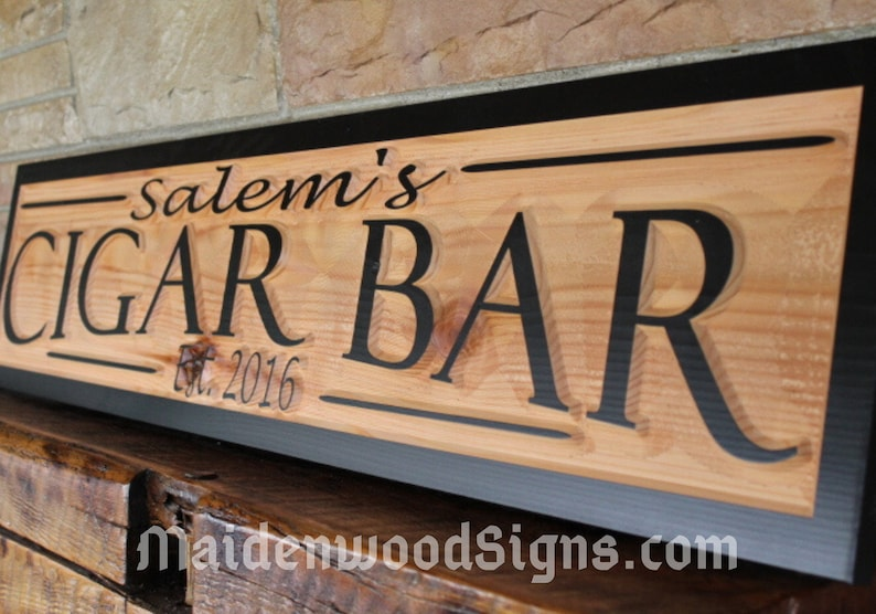 cigar bar sign custom name sign personalized signs wood image 0