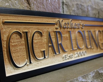 cigar bar sign, custom name sign, wood wall art, boyfriend gift, cigar lounge sign, reception sign, wedding bar signs, personalized signs
