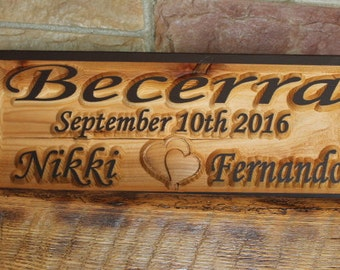 Personalized Family Name Wood Sign, Wedding Gift Family Sign, Wooden Anniversary Sign,