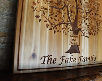custom family tree wall art, grandparent gift, personalized family name sign, Mother's day gift, hand carved wood wall art, anniversary gift