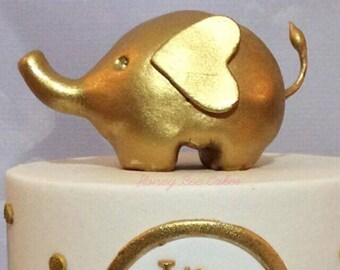 Gold Painted Elephant Cake Topper ( Gumpaste )