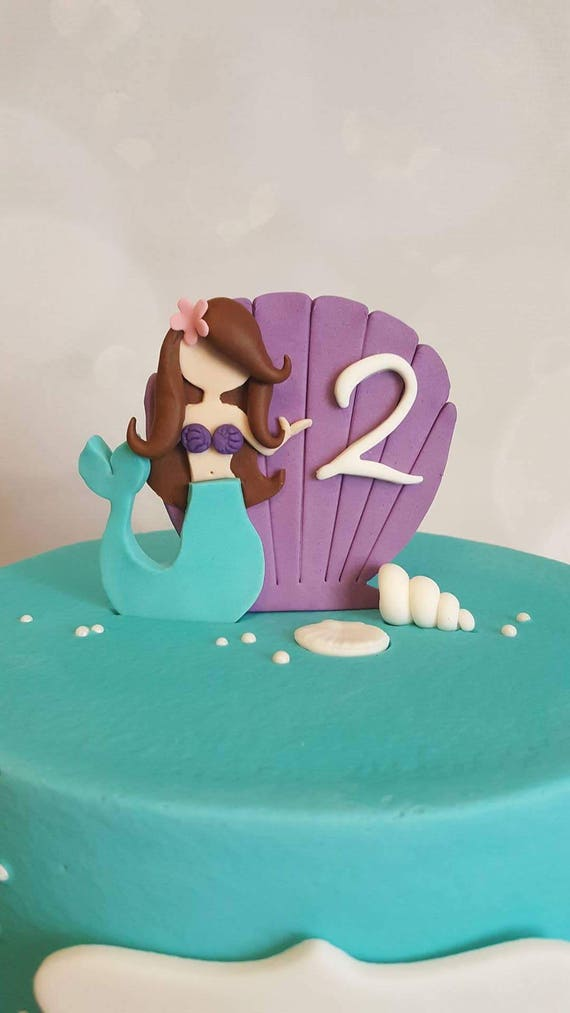 mermaid cake topper fondant mermaid cake topper etsy 5834
