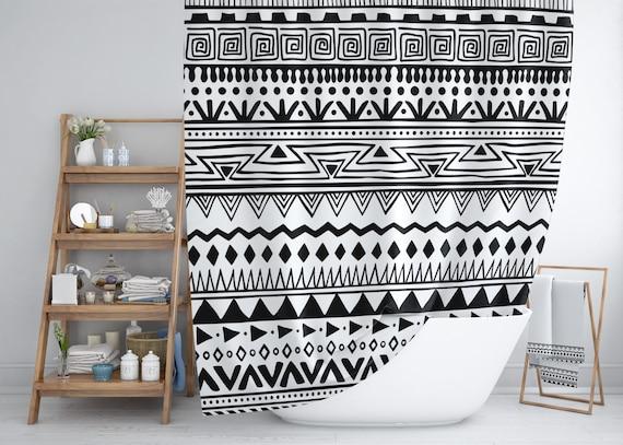 Black And White Boho Chic Shower Curtain Set Geometric