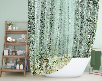 Green trees mosaic tile shower curtain set. Exclusively here now!
