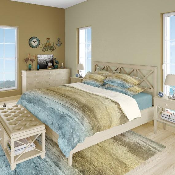 Coastal decor ocean colors duvet cover or comforter beach bedding set in  sage green, cornflower blue, taupe.