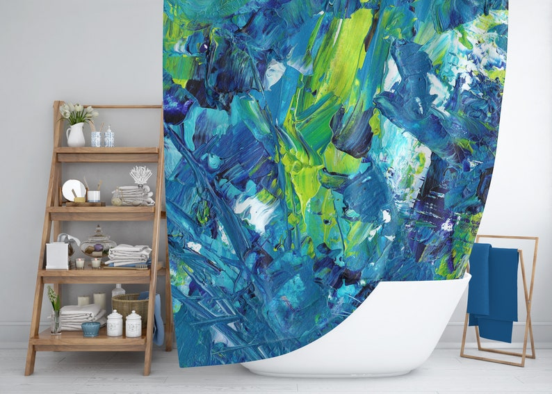 Abstract Art Shower Curtain Blue And Green White Modern