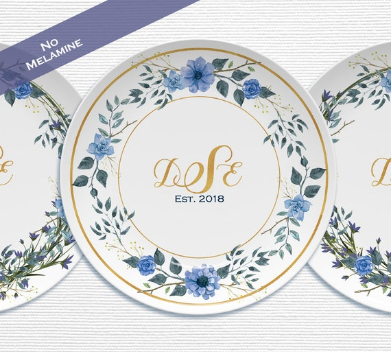 Personalized Wedding Plates Blue Floral Plastic Plates No Etsy