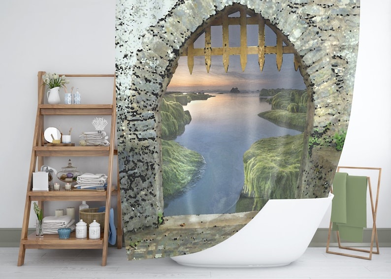 Fantasy Shower Curtain Medieval Castle Archway Sunset On The