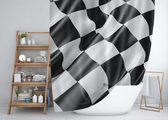 Black And White Shower Curtain Checkered Flag Race Car