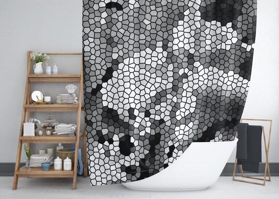Mosaik-Dusche-Vorhang, Art-Deco-Fliese, schwarz, weiß und grau abstrakte  Muster.