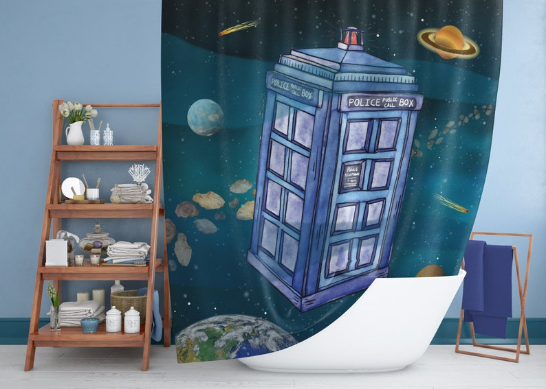 Doctor Who Shower Curtain The Tardis In Space Police Call Etsy