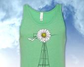 Daisy Windmill Light Green Tank Top