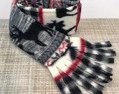 Reindeer Fleece Dog Scarf - Winter - Woodland - Christmas - Rustic