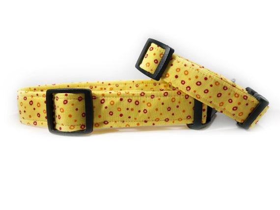 Collier pour chien, collier de votre animal d'impression tissu chien, chien imprimé jaune, jaune canari