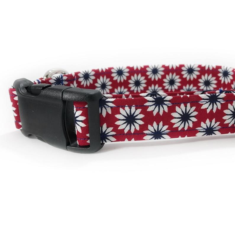 Dog Gift Girl Female Dog Mom Red Flower Floral Fabric Dog Collar