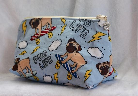 Pug Life Zippered Makeup Cosmetic Bag  4d7383abbf754