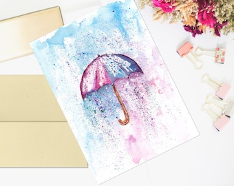 Umbrella Watercolor, Umbrella Art, Umbrella Painting, Umbrella Art Nursery, Umbrella Wall Art, Umbrella Art Print, Printable Watercolor