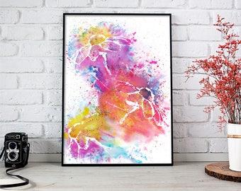 Magic Flowers Watercolor, Flowers Watercolor Painting, Flowers Painting, Flowers Art, Silhouette Flowers, Contemporary Art, Flowers Wall Art