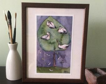 Nesting Herons print of watercolour painting