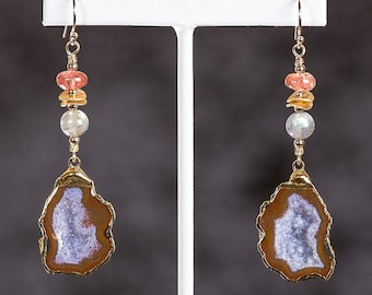 Agate drusy earrings with moonstone, spinel, labradorite, and 14k gold ear wires