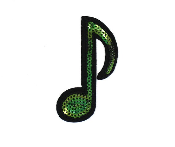 Double Eighth Note Musical Symbol  Iron On Applique Patch LARGE 2.5 in x 2.25 in