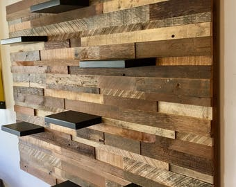 Reclaimed Barn Wood Wall Art (With 7 Shelves) FREE SHIPPING!